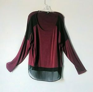 A.n.a XL maroon black sheer longsleeve flowing top